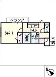 D‐roomビーチルック 1階1SDKの間取り