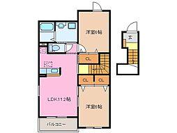 クラージュ D棟[2階]の間取り