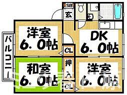 福岡県大野城市大池1丁目の賃貸アパートの間取り