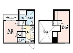 福岡県福岡市博多区吉塚1の賃貸アパートの間取り