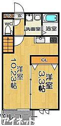 福岡市地下鉄七隈線 賀茂駅 徒歩8分の賃貸アパート 2階1SLDKの間取り