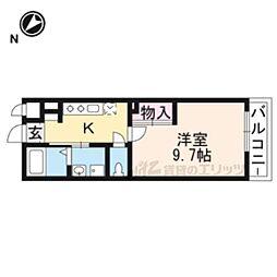 仮称)東近江市佐野町新築アパート 2階1Kの間取り
