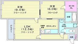 木町ホームプラザ 3階2LDKの間取り