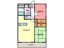 熊本市電A系統 健軍町駅 3.6kmの賃貸マンション 3階2LDKの間取り