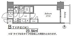 ファステートNANBAWESTディオン 6階1Kの間取り