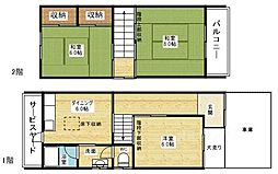 [一戸建] 大阪府大阪市東淀川区東中島4丁目 の賃貸【/】の間取り