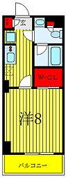 JR常磐線 南千住駅 徒歩7分の賃貸マンション 2階1Kの間取り