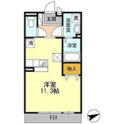 JR呉線 新広駅 バス8分 弁天橋下車 徒歩3分の賃貸アパート 1階ワンルームの間取り