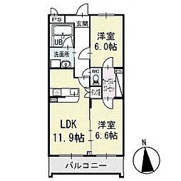 ウイステリアスクエア 1階[102号室]の間取り
