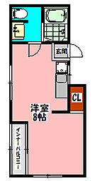 大和マンション(日吉町) 4階ワンルームの間取り