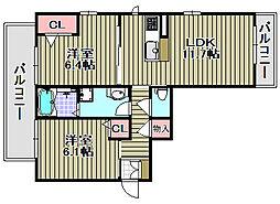 シャーメゾンSUNBAY 3階2LDKの間取り