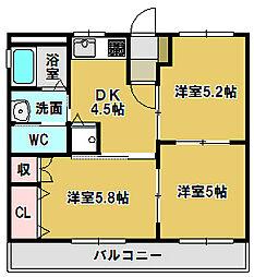 三重県鈴鹿市野辺2の賃貸アパートの間取り