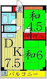 ミリカハイツ 4階2DKの間取り