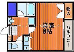JR山陽本線 西川原駅 徒歩8分の賃貸マンション 3階ワンルームの間取り