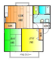 エクセルコーポ陵南[2階]の間取り