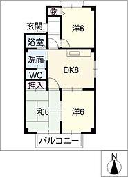 ラポールおゝいA棟[2階]の間取り
