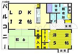 コスモガーデン和白[1階]の間取り