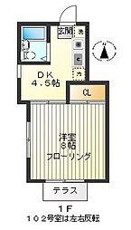武蔵野レジデンス[102号室]の間取り