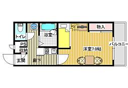 大阪府八尾市西高安町3丁目の賃貸マンションの間取り