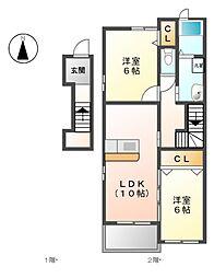愛知県名古屋市北区大我麻町の賃貸アパートの間取り