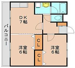 ハーモニーKハウス二又瀬[1階]の間取り