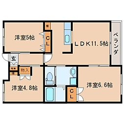JR東海道本線 静岡駅 バス25分 井庄下車 徒歩3分の賃貸マンション 1階3LDKの間取り