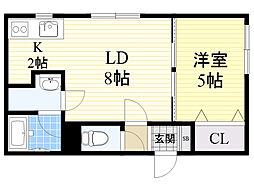 北海道札幌市東区北36条東16丁目の賃貸マンションの間取り