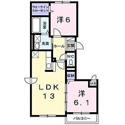 Park喜多川E[4階]の間取り