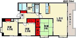 福岡県大野城市下大利2丁目の賃貸マンションの間取り