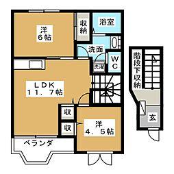 宮城県仙台市太白区東大野田の賃貸アパートの間取り