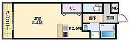 阪神本線 鳴尾・武庫川女子大前駅 徒歩16分の賃貸マンション 3階ワンルームの間取り