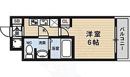 クレアート大阪トゥールビヨン 2階1Kの間取り