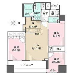 東京メトロ銀座線 稲荷町駅 徒歩4分の賃貸マンション 11階3LDKの間取り