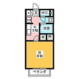 シャモニー清洲 2階1Kの間取り