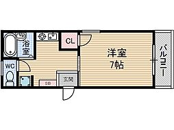ハピネス茨木[3階]の間取り