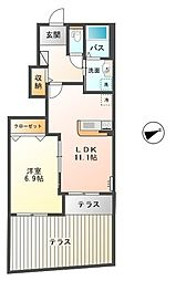 鳥取県鳥取市浜坂6丁目の賃貸アパートの間取り