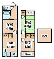 [テラスハウス] 大阪府大東市北条2丁目 の賃貸【大阪府 / 大東市】の間取り