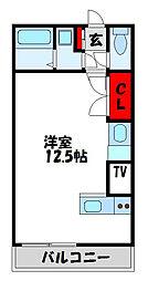 JR鹿児島本線 福間駅 徒歩10分の賃貸アパート 3階ワンルームの間取り