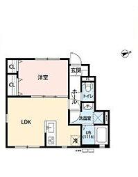 JR南武線 谷保駅 徒歩10分の賃貸アパート 2階1LDKの間取り