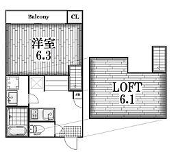 ハーモニーテラス八代町III[2階]の間取り