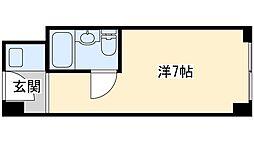 ステュディオ新大阪 7階ワンルームの間取り