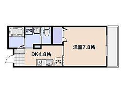 PLEIN SOLEIL桜尾 2階1DKの間取り