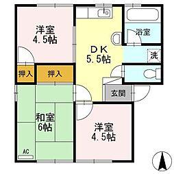 カーサ竹倉B棟[1階]の間取り
