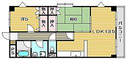 大阪府茨木市東太田1丁目の賃貸マンションの間取り