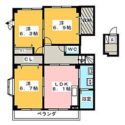 ネクステージルミエール[2階]の間取り
