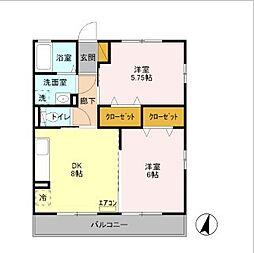 東京都足立区神明南1丁目の賃貸アパートの間取り
