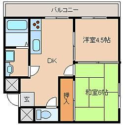 兵庫県尼崎市開明町1丁目の賃貸マンションの間取り