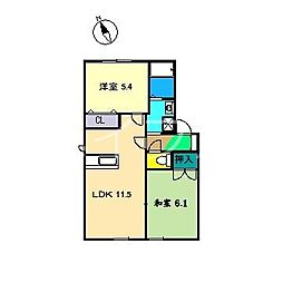 メゾントランキル B棟[2階]の間取り
