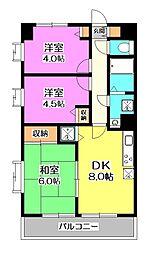 埼玉県所沢市東所沢4丁目の賃貸マンションの間取り
