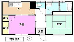 長野県長野市伊勢宮2丁目の賃貸アパートの間取り